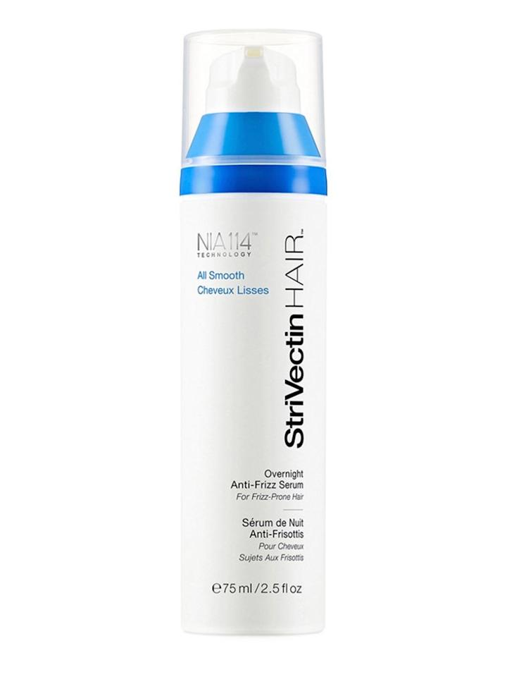 """<p><strong>Overnight Anti-Frizz Serum by StriVectin Hair, $35, <a rel=""""nofollow"""" href=""""http://shop.nordstrom.com/s/strivectinhair-all-smooth-overnight-anti-frizz-serum/4514044""""><span>nordstrom.com</span></a></strong><strong>.</strong></p><p><strong>Best For:</strong> Frizz brought on by humidity or dry weather.</p><p><strong>The Strategy:</strong> If your hair needs a more lightweight treat, then opt for a serum instead of a mask. This one doesn't require rinsing in the morning—just apply it to dry or damp hair before you go to bed, focusing on your ends. Over time, it will cut down on frizz and make your hair more manageable, no matter what the weather.</p>"""