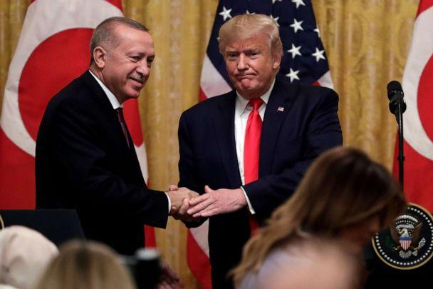 PHOTO: President Donald Trump shakes hands with Turkish President Recep Tayyip Erdogan after a news conference in the East Room of the White House, Nov. 13, 2019, in Washington. (Evan Vucci/AP, FILE)