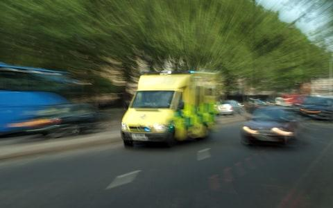 An ambulance responding to a 999 call
