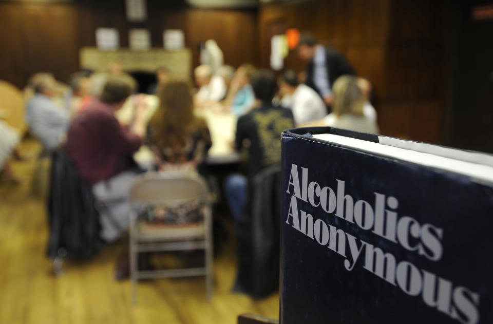 "Alcoholics Anonymous celebrates its 75th anniversary. Also known as AA it was founded by Bill Wilson and Dr Bob Smith in June 1935 in Akron Ohio. It has become a worldwide movement spread out with over 100,000 groups with 2 million members in 150 countries. The two books primarily used are called Alcoholics Anonymous (the ""Big Book "") and Twelve Steps and Twelve Traditions, explaining AA""s fundamental principles. Meetings are informal such as the one started in Paris in 1960 at the American Church at 65 quai dÕOrsay for English speakers such as the US military which led to the first French speaking group 50 years ago in the same room (photo). The WHO estimates that over 140 million people globally are affected by alcoholism. The International AA Convention will be held July 1-4, 2010 in San Antonio,Texas. (Photo by John van Hasselt/Corbis via Getty Images)"