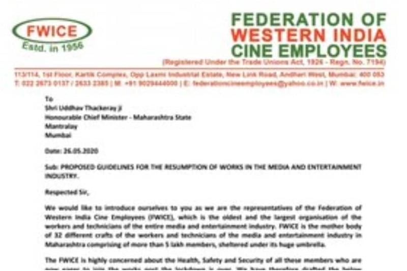 FWICE Submits Proposed Guidelines to Uddhav Thackeray for Resuming Work in Entertainment Industry