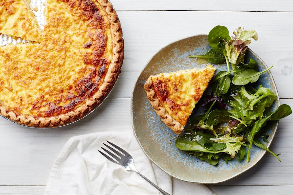 """This is the ideal time of year to take something fresh and summery (corn) and turn it into something rich, creamy, and comforting, like this quiche. If there are no fresh ears to be found near you though, frozen works, too. <a href=""""https://www.epicurious.com/recipes/food/views/fresh-corn-quiche-103754?mbid=synd_yahoo_rss"""" rel=""""nofollow noopener"""" target=""""_blank"""" data-ylk=""""slk:See recipe."""" class=""""link rapid-noclick-resp"""">See recipe.</a>"""