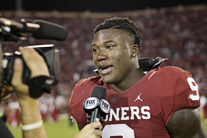 Oklahoma linebacker Kenneth Murray Jr. following a win over Army in September 2018.