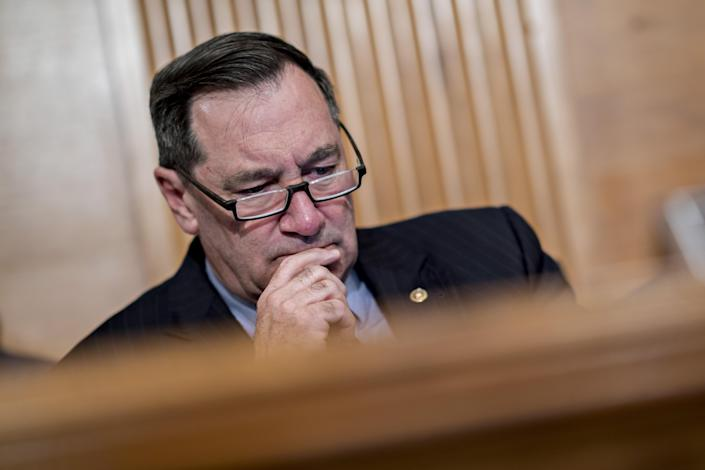 """<span class=""""s1"""">Sen. Joe Donnelly at work on the Senate Banking Committee on May 15. (Photo: Andrew Harrer/Bloomberg via Getty Images)</span>"""