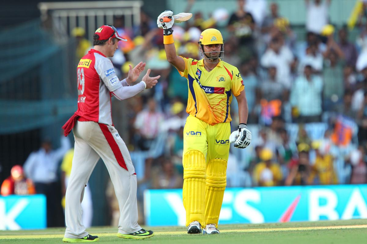 Suresh Raina celebrates his fifty as David Hussey congratulates him during match 45 of the Pepsi Indian Premier League between The Chennai Superkings and the Kings XI Punjab held at the MA Chidambaram Stadium in Chennai on the 2nd May 2013..Photo by Ron Gaunt-IPL-SPORTZPICS   .. .Use of this image is subject to the terms and conditions as outlined by the BCCI. These terms can be found by following this link:..https://ec.yimg.com/ec?url=http%3a%2f%2fwww.sportzpics.co.za%2fimage%2fI0000SoRagM2cIEc&t=1493545093&sig=jtD.wxdsqRjGbz0gLzQ8yA--~C