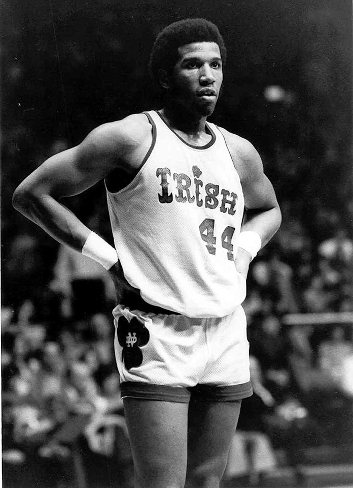 Adrian Dantley of the Univeristy of Notre Dame Fighting Irish waits for the game to start at Joyce Center in South Bend, Indiana, circa 1973-76.
