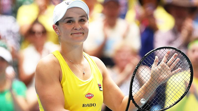 Ash Barty, pictured here in action during the 2019 Fed Cup final against France.