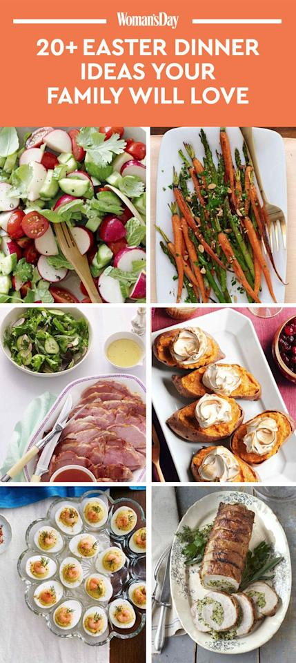 """<p>Save these Easter dinner ideas for later by pinning this image, and follow <em>Woman's Day </em>on <a rel=""""nofollow"""" href=""""https://www.pinterest.com/womansday/"""">Pinterest</a> for more.<span></span></p>"""