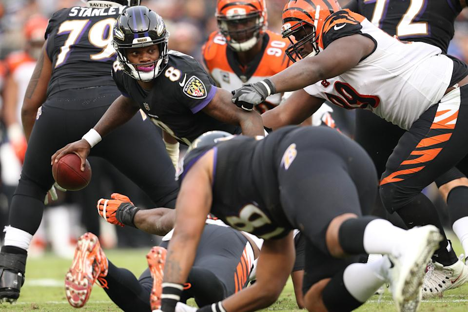 The Ravens' Lamar Jackson got his first victory as an NFL starting quarterback on Sunday against the Bengals. (Getty Images)