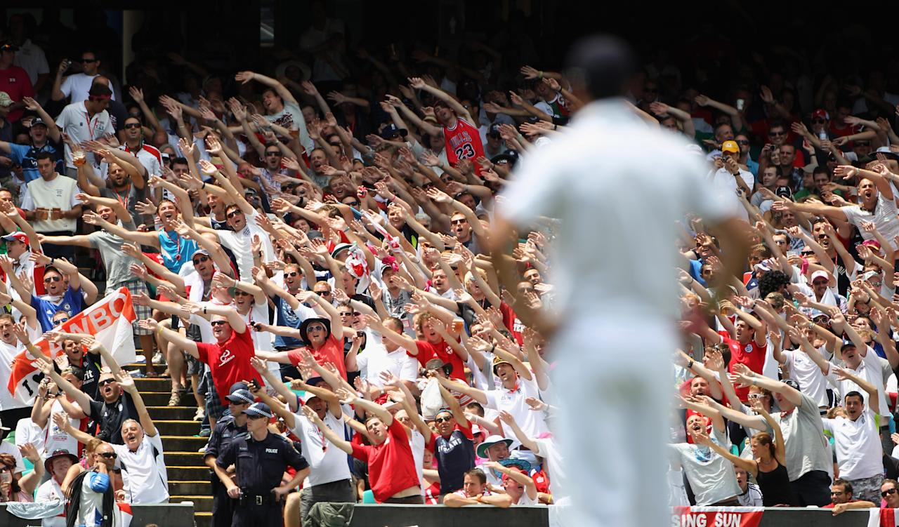 SYDNEY, AUSTRALIA - JANUARY 07:  The Barmy Army do the Mitchell Johnson song during day fiveof the Fifth Ashes Test match between Australia and England at Sydney Cricket Ground on January 7, 2011 in Sydney, Australia.  (Photo by Tom Shaw/Getty Images)
