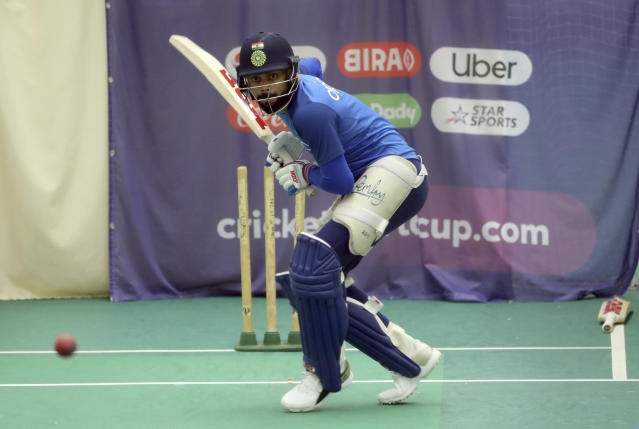 India's captain Virat Kohli bats in the nets during an indoor training session ahead of their Cricket World Cup match against West Indies at Old Trafford in Manchester, England, Tuesday, June 25, 2019. (AP Photo/Aijaz Rahi)