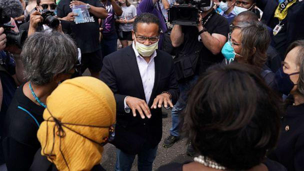 PHOTO: Sate Attorney General Keith Ellison speaks with Rep. Ilhan Omar and members of the United States Congressional Black Caucus as they visited the site of George Floyd's death, June 4, 2020 in south Minneapolis. (Anthony Souffle/AP)
