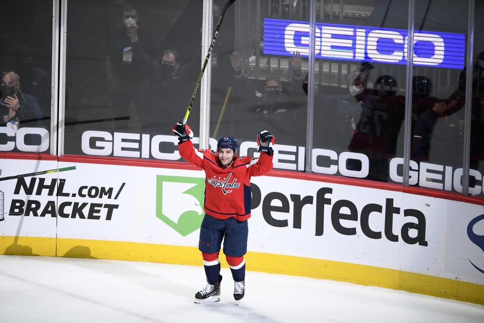 Washington Capitals left wing Conor Sheary celebrates his overtime goal against the Philadelphia Flyers during an NHL hockey game Saturday, May 8, 2021, in Washington. The Capitals won 2-1. (AP Photo/Nick Wass)