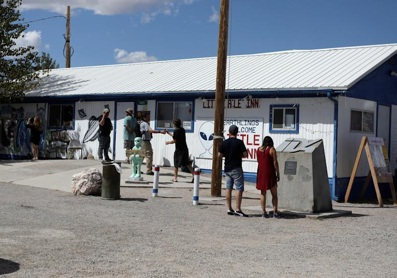 Attendees arrive at the Little A'Le'Inn as an influx of tourists responding to a call to 'storm' Area 51, a secretive U.S. military base believed by UFO enthusiasts to hold government secrets about extra-terrestrials, is expected in Rachel, Nevada,Sept. 19, 2019. (Photo: Jim Urquhart/Reuters)