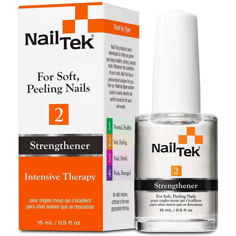 """<h3>Nail Tek Intensive Therapy</h3><br>If your nail beds are weak and soft, with little growth past your fingertips, this is an easy strengthening treatment to add to your next Amazon order.<br><br><strong>Nail Tek</strong> Intensive Therapy 2, $, available at <a href=""""https://www.amazon.com/Nailtek-Intensive-Therapy-2-Treatment-Peeling/dp/B0034E702U"""" rel=""""nofollow noopener"""" target=""""_blank"""" data-ylk=""""slk:Amazon"""" class=""""link rapid-noclick-resp"""">Amazon</a>"""
