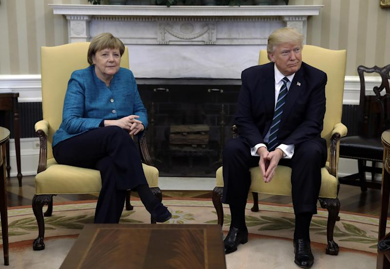 Awkward: Donald Trump failed the shake Angela Merkel's hand: AP