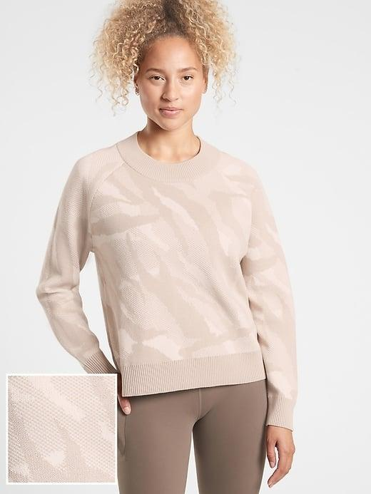 <p>There are four patterns of the <span>Athleta Jacquard Crew Sweater</span> ($90-$129, originally $129) but we love the subtlety of this cream animal print.</p>