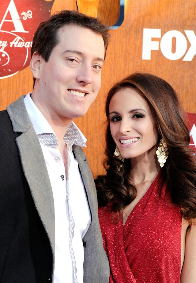 LAS VEGAS, NV - DECEMBER 05: NASCAR driver Kyle Busch (L) and Samantha Sarcinella arrives at 2011 American Country Awards at MGM Grand Garden Arena on December 5, 2011 in Las Vegas, Nevada. (Photo by Frazer Harrison/Getty Images)