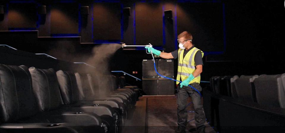 Showcase Cinemas showing how the auditorium will be cleaned after each screening in their cinemas, using a new anti-viral fogging machine that eliminates airborne viruses on contact. (PA)