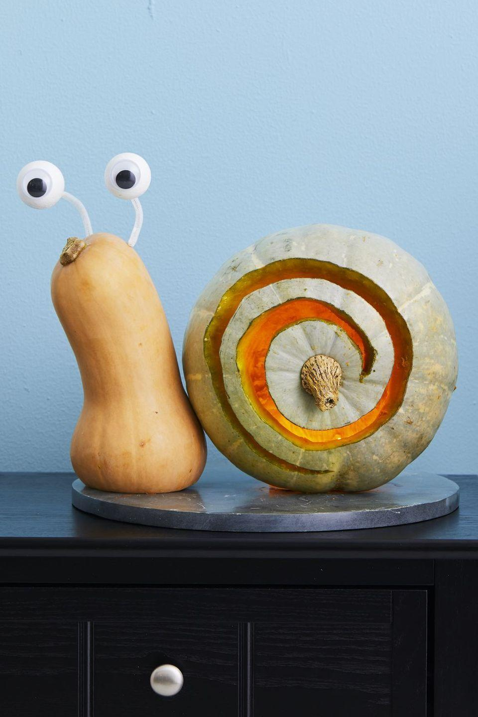 """<p>A hollowed-out pumpkin with a swirly design becomes the """"shell"""" for this sweet snail, while pipe cleaners and ping-pong ball """"eyes"""" help him see clearly.</p><p><strong>Get the tutorial at <a href=""""https://www.womansday.com/home/crafts-projects/g950/funny-pumpkin-carving-ideas/"""" rel=""""nofollow noopener"""" target=""""_blank"""" data-ylk=""""slk:Woman's Day"""" class=""""link rapid-noclick-resp"""">Woman's Day</a>.</strong></p><p><a class=""""link rapid-noclick-resp"""" href=""""https://go.redirectingat.com?id=74968X1596630&url=https%3A%2F%2Fwww.walmart.com%2Fsearch%2F%3Fquery%3Dpipe%2Bcleaners&sref=https%3A%2F%2Fwww.thepioneerwoman.com%2Fhome-lifestyle%2Fcrafts-diy%2Fg36982763%2Fpumpkin-carving-ideas%2F"""" rel=""""nofollow noopener"""" target=""""_blank"""" data-ylk=""""slk:SHOP PIPE CLEANERS"""">SHOP PIPE CLEANERS</a></p>"""
