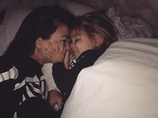 "<p>""You're the son in my morning babe,"" Kourtney captioned a snapshot of herself snuggling with Reign. <br>(Photo: <a href=""https://www.instagram.com/p/BaFCDdLjBws/?taken-by=kourtneykardash"" rel=""nofollow noopener"" target=""_blank"" data-ylk=""slk:Kourtney Kardashian via Instagram"" class=""link rapid-noclick-resp"">Kourtney Kardashian via Instagram</a>)<br><br></p>"