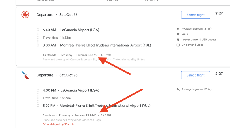 Google Flights typically shows the plane next to the flight number. (Screenshot via Yahoo Finance)
