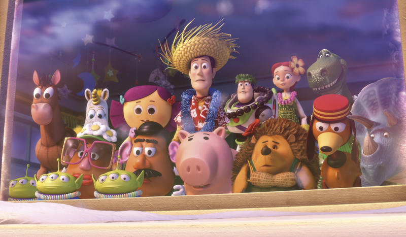 "In this film publicity image released by Disney-Pixar, a scene is shown from ""Toy Story: Hawaiian Vacation.""  Woody the cowboy, Buzz Lightyear and their ""Toy Story"" pals are back on the big-screen in a new adventure. The voices of Tom Hanks, Tim Allen, Michael Keaton, Joan Cusack are featured in a ""Toy Story"" short film that runs before the Pixar Animation sequel ""Cars 2,"" which debuts in U.S. theaters Friday. (AP Photo/Disney/Pixar)"