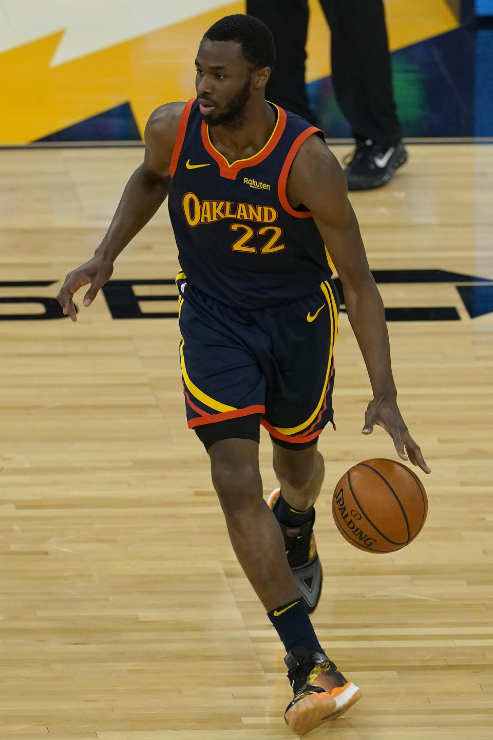 Golden State Warriors' Andrew Wiggins against the Oklahoma City Thunder during an NBA basketball game in San Francisco, Thursday, May 6, 2021. (AP Photo/Jeff Chiu)