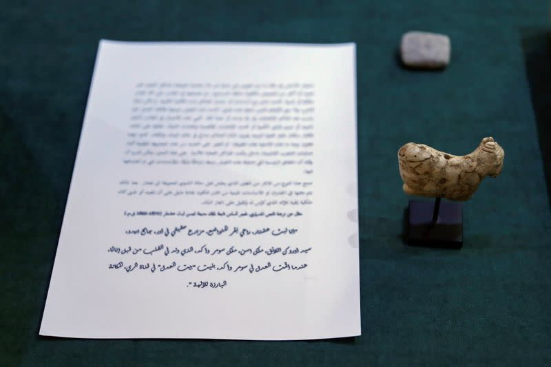 Artifacts seized by the U.S. government and returned to Iraq are displayed at the Ministry of Foreign Affairs in Baghdad