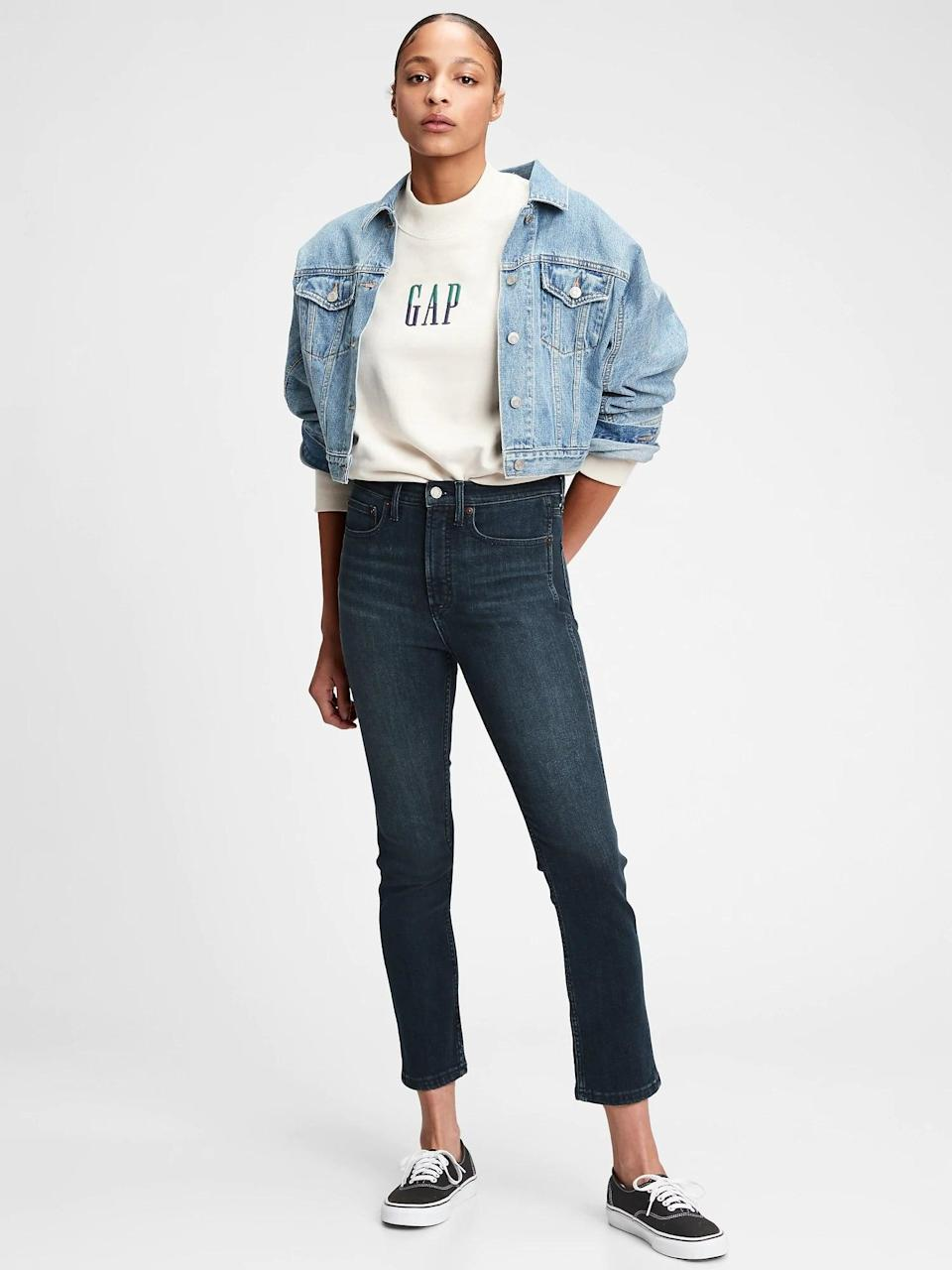 <p>You'll love the classic fit of these <span>Gap High-Rise Cigarette Jeans With Secret Smoothing Pockets</span> ($69, originally $80). The leg is tapered, and just goes out at the ankle.</p>