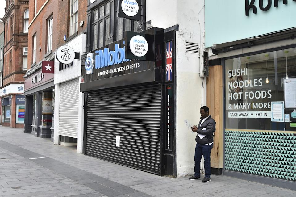 """Shops closed by a new, localized coronavirus lockdown in Leicester, England. <span class=""""copyright"""">(Rui Vieira / Associated Press)</span>"""