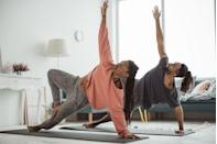 """<p>Stretch off and get ready to show each other your best downward-facing dog. Known for it's body and mind <a href=""""https://www.elle.com/uk/life-and-culture/elle-fit/articles/a31896/yoga-to-reset-your-body-and-mind/"""" rel=""""nofollow noopener"""" target=""""_blank"""" data-ylk=""""slk:benefits"""" class=""""link rapid-noclick-resp"""">benefits</a>, you'll finish your at home date feeling rejuvenated... and a bit sweaty. Namaste. </p>"""