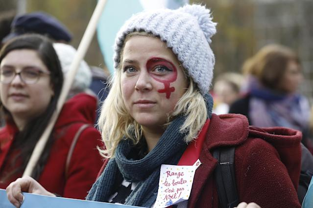 <p>Women participate in the National Feminist demonstration on the occasion of the International Day for the Elimination of Violence against Women, Saturday, Nov. 25, 2017 in Brussels, Belgium. (Photo: Nicolas Maeterlinck/Belga via ZUMA Press) </p>