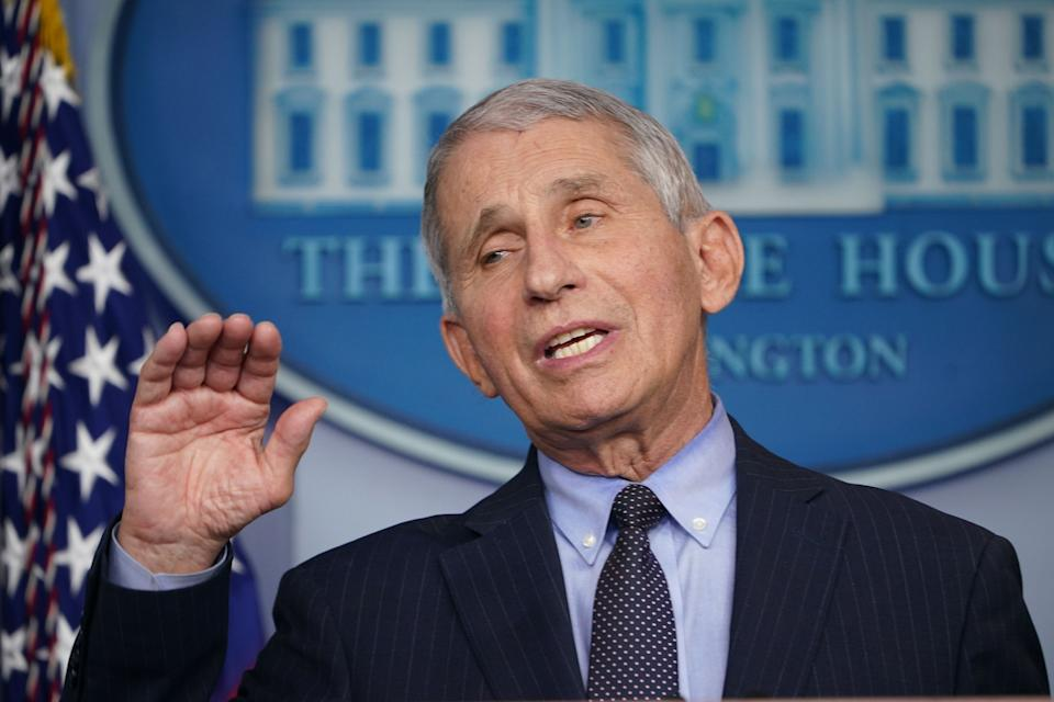 Dr. Anthony Fauci speaks during a briefing at the White House on Jan. 21. (Photo by Mandel Ngan/AFP via Getty Images)