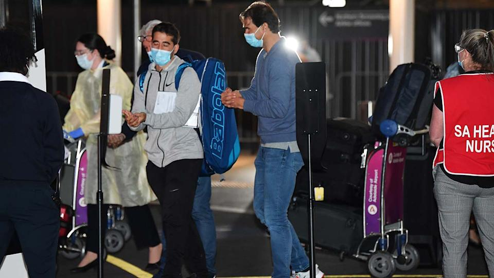 Rafael Nadal, pictured here arriving at Adelaide Airport.