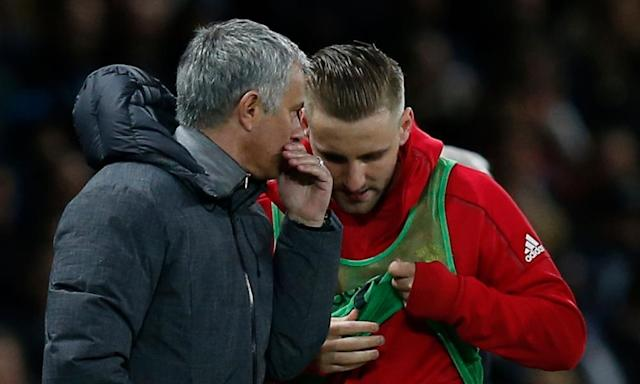 """<span class=""""element-image__caption"""">José Mourinho said Luke Shaw was 'using his body with my brain' after giving the left-back his first Manchester United appearance since January in the second half against Everton.</span> <span class=""""element-image__credit"""">Photograph: Andrew Yates/Reuters</span>"""