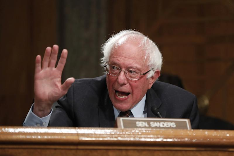 """Trump regularly coins demeaning nicknames for political opponents, such as calling Senator Bernie Sanders, seen here at a June hearing, """"Crazy Bernie"""" (AFP Photo/Aaron P. Bernstein)"""