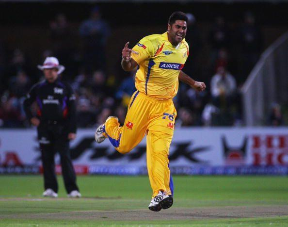 Manpreet Gony clebrating a wicket for Chennai Super Kings
