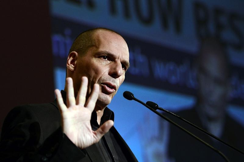 Greek finance minister Yianis Varoufakis speaks during a press conference in Athens, on May 14, 2015