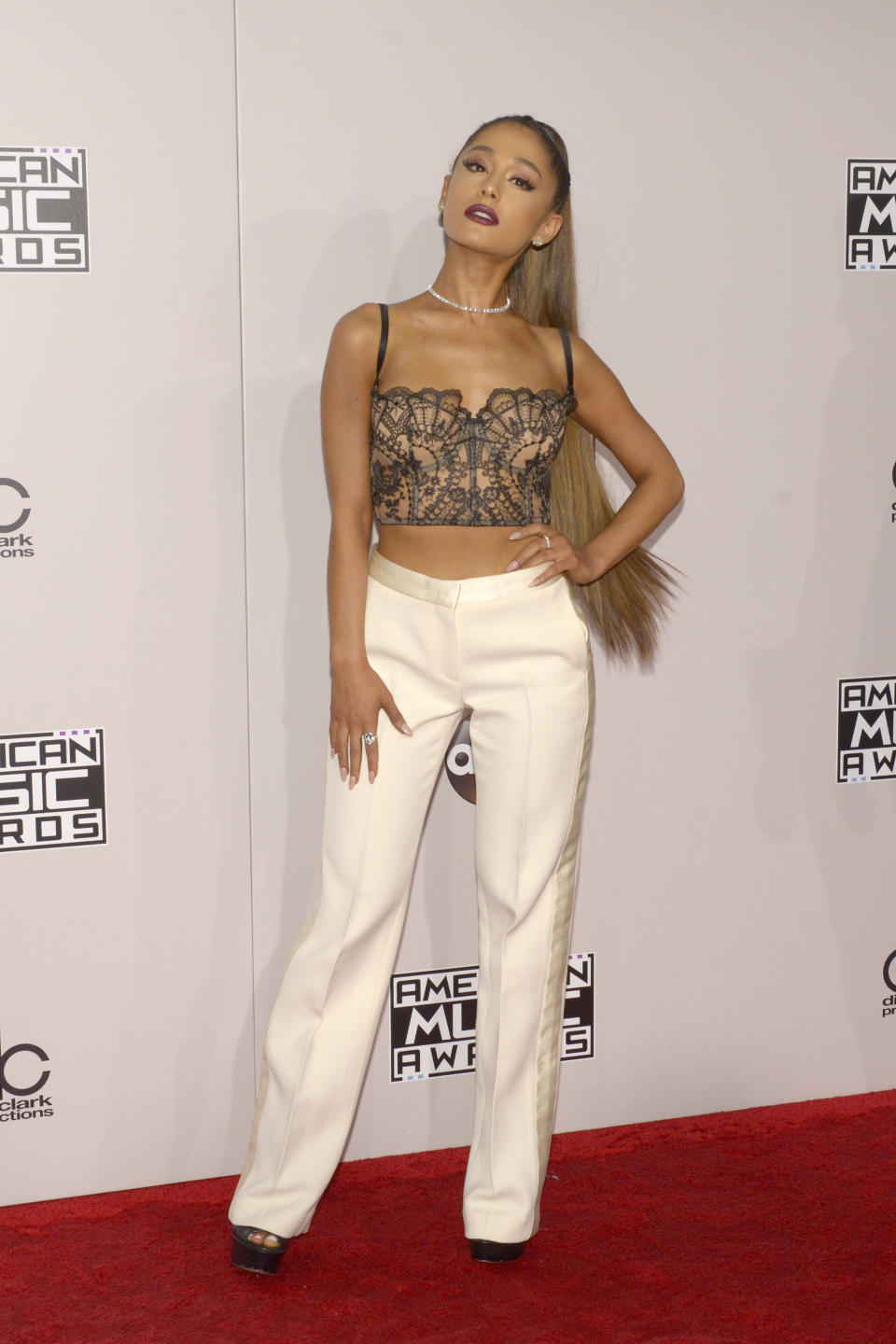 Ariana Grande's latest photo has raised concerns with fans over her slim frame. (Image via Getty Images)