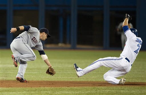 Toronto Blue Jays' Kelly Johnson, right, steals second base as Cleveland Indians second baseman Jason Kiplis misses the toss during third inning of a baseball game in Toronto, Sunday, July 15, 2012. (AP Photo/The Canadian Press, Aaron Vincent Elkaim)