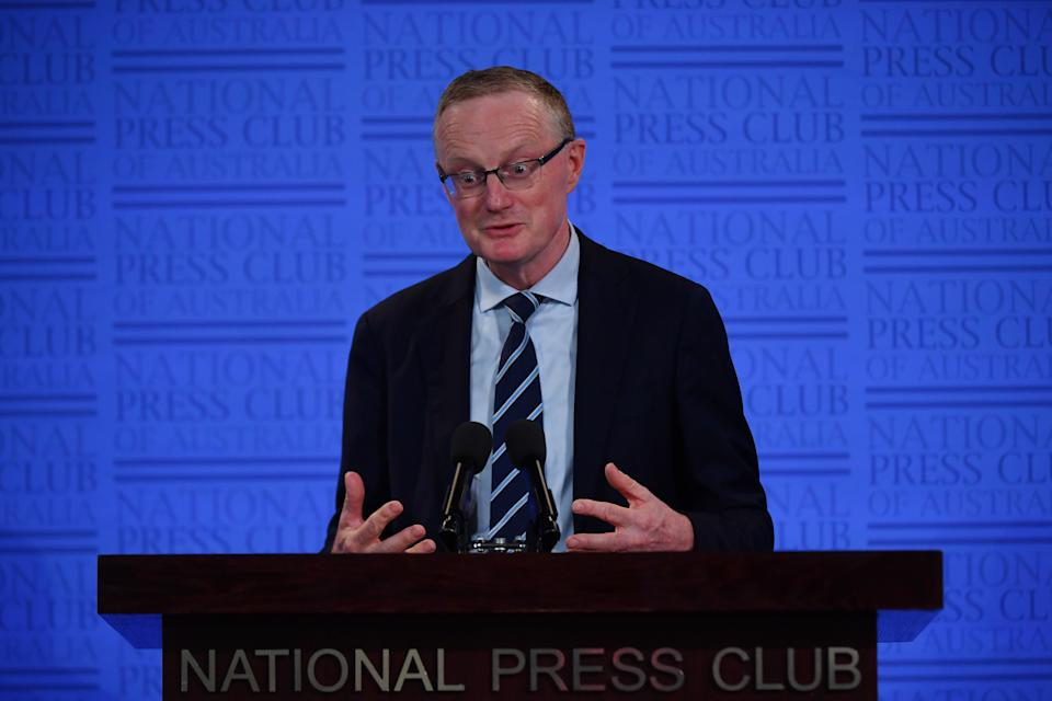 CANBERRA, AUSTRALIA - FEBRUARY 03: Reserve Bank of Australia Governor Philip Lowe delivers his address at the National Press Club on February 03, 2021 in Canberra, Australia. In the first meeting of the year held earlier this week, the Reserve Bank of Australia board decided to hold the cash rate target at 0.1 percent but Mr Lowe repeated the rate would not move up until actual inflation rises between 2 and 3 percent which is not expected to happen until 2024 at the earliest. (Photo by Sam Mooy/Getty Images)