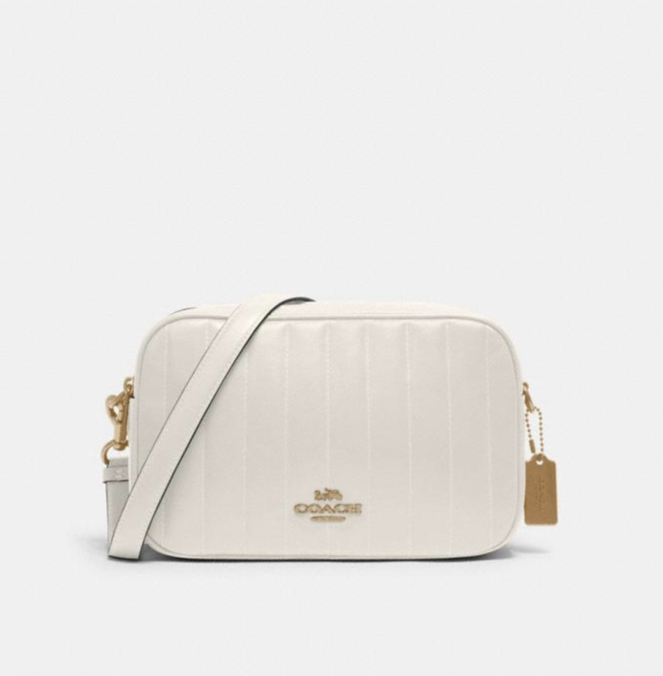 Jes Crossbody with Linear Quilting in Chalk (Photo via Coach Outlet)