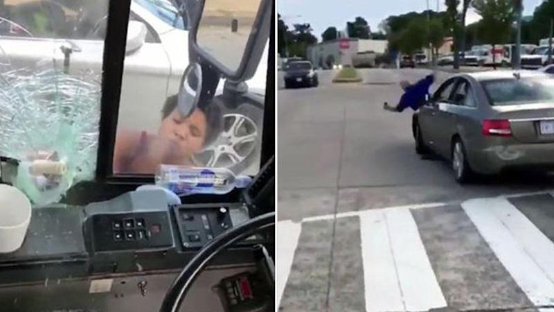 'Crazy driver' smashes up bus, runs over man in road rage attack