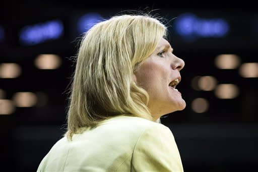 Saint Joseph's head coach Cindy Griffin shouts to her players during the first half of their NCAA college basketball championship game against Fordham at the Atlantic 10 Conference tournament, Saturday, March 16, 2013, in New York. (AP Photo/John Minchillo)