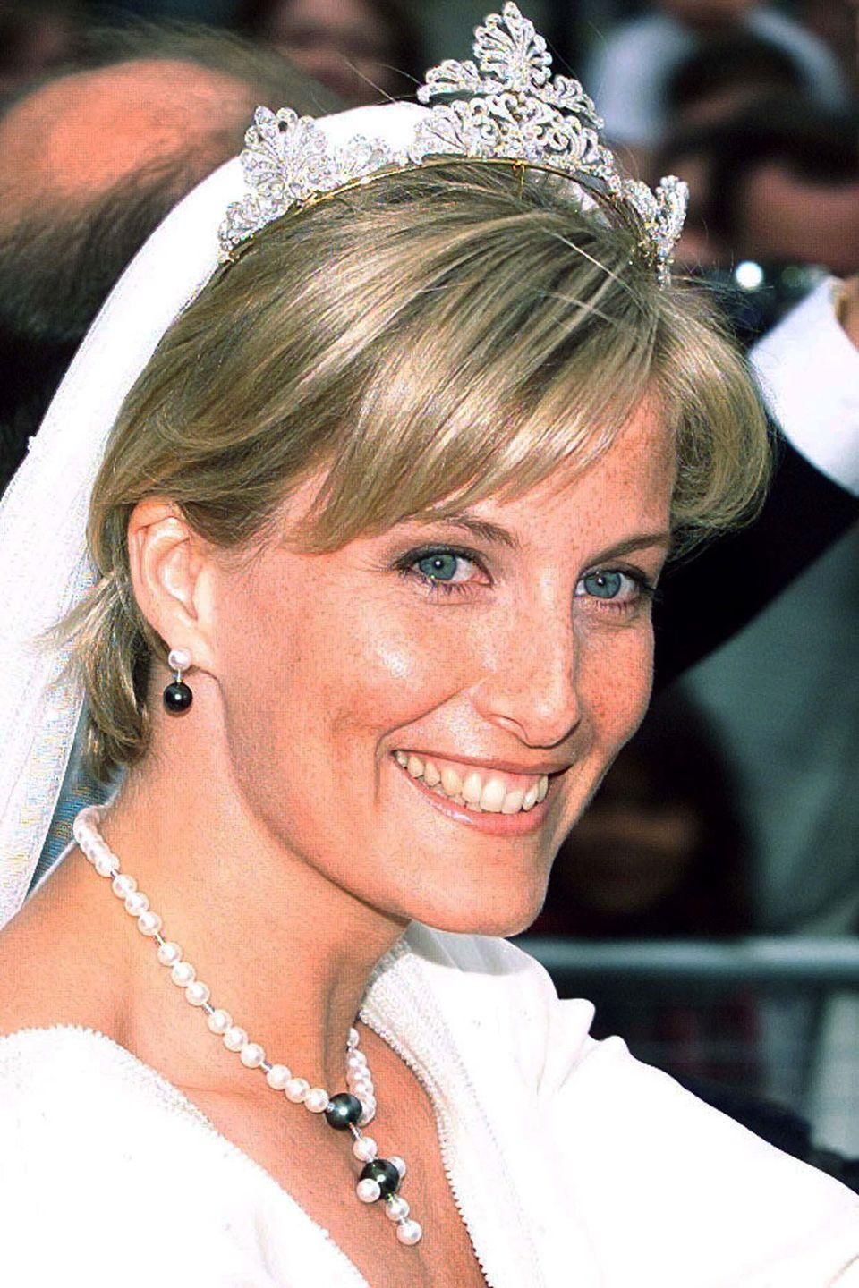 <p>When Sophie Rhys-Jones walked down the aisle to marry Prince Edward in 1999, she wore a tiara that had not been seen before. It is believed to be a piece from the Queen's collection that had been reworked for the occasion. Sophie has since worn the tiara for a number of other events.</p>