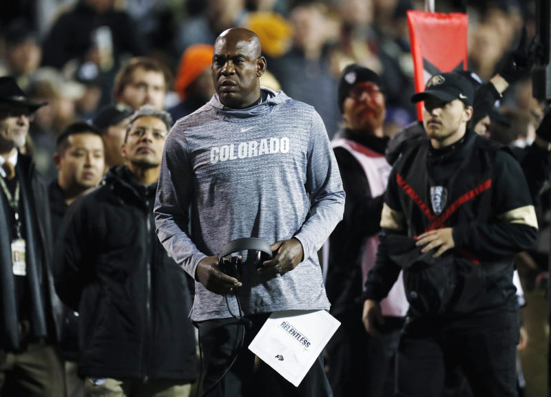 Colorado coach Mel Tucker looks for a call during the first half of the team's NCAA college football game against Washington on Saturday, Nov. 23, 2019, in Boulder, Colo. (AP Photo/David Zalubowski)