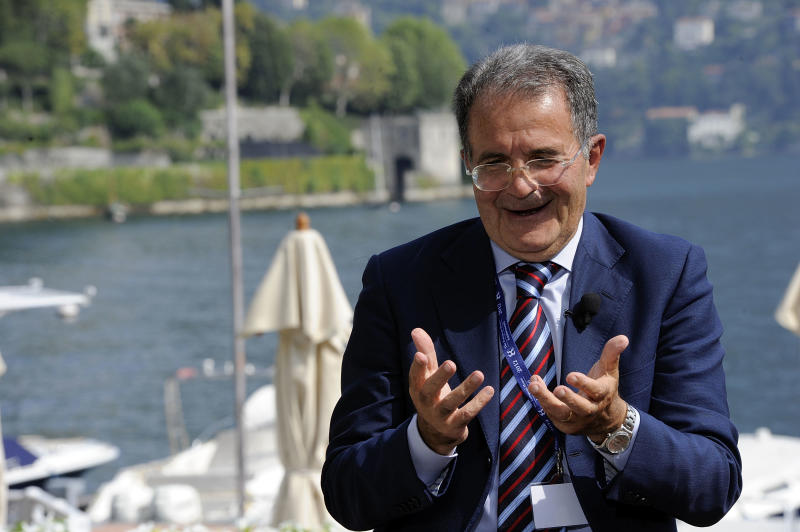 Former Italian Premier Romano Prodi gestures as he takes a break during a meeting on World Economy in Cernobbio, Italy, Friday, Sept. 7, 2012. Experts and leaders gathered in Italy to discuss the prolonged crisis in a structurally flawed Europe, political dysfunction pushing America off a 'fiscal cliff' and the emerging economies slowdown drying up the last engine of global growth. (AP Photo/Giuseppe Aresu)