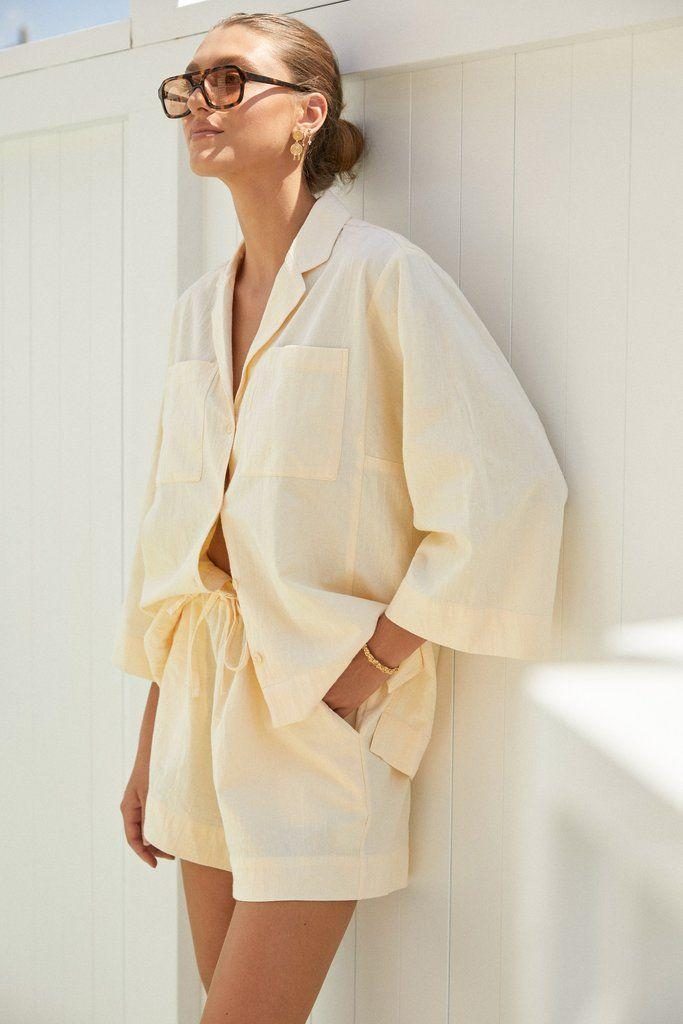 """<p>piyama.com</p><p><strong>$110.00</strong></p><p><a href=""""https://www.piyama.com/collections/daywear/products/peta-lounge-set-cotton-baby-canvas-butter"""" rel=""""nofollow noopener"""" target=""""_blank"""" data-ylk=""""slk:Shop Now"""" class=""""link rapid-noclick-resp"""">Shop Now</a></p>"""