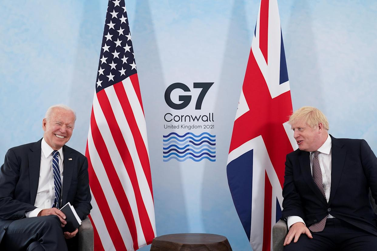 US president Joe Biden and UK prime minister Boris Joshnson during their meeting, ahead of the G7 summit, at Carbis Bay, Cornwall, England. Photo: Kevin Lamarque/Reuters